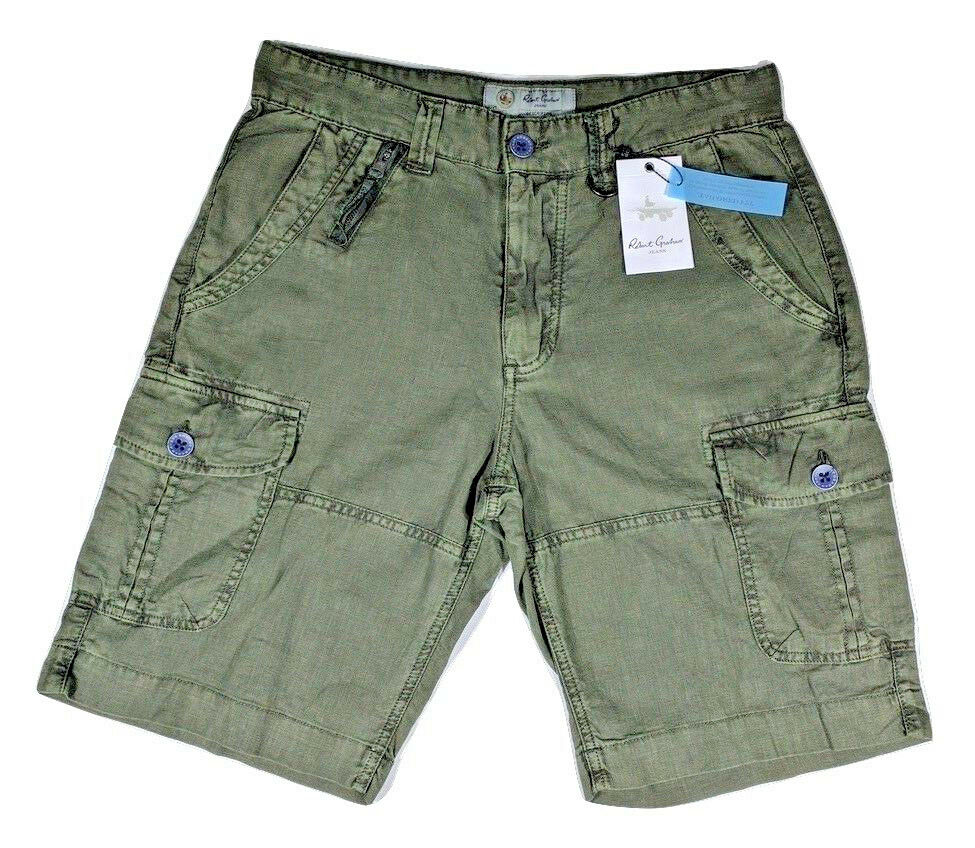 New Men's Robert Graham Jeans Lemons Style Short Size 32 Classic Fit color Olive