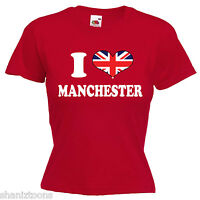 I Love Heart Manchester Ladies Lady Fit T Shirt 13 Colours Size 6 - 16
