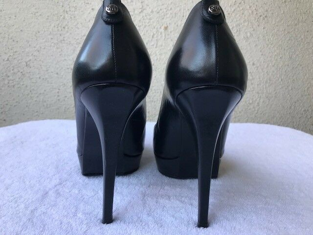 STUART WEITZMAN schwarz PUMPS-9.5M LEATHER PEEP-TOE PLATFORMS PUMPS-9.5M schwarz 111ba7