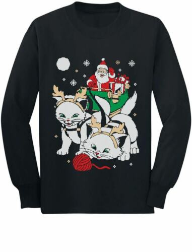 Cats Santa Ride Kittens Funny Ugly Christmas Toddler//Kids Long sleeve T-Shirt