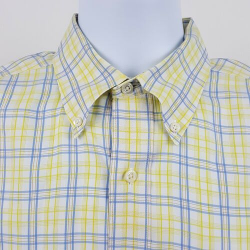 Large Mens Usa Brothers Country Shirt Brooks Button L Blauw Geel L s Club Check PBwOqYw