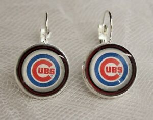 Image Is Loading Chicago Cubs Earrings Made From Baseball Trading Cards