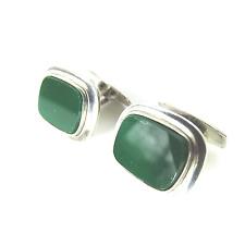 Art Déco Manschettenknöpfe 835 Silber Achat Grün 30er Rusch Silver Cufflinks