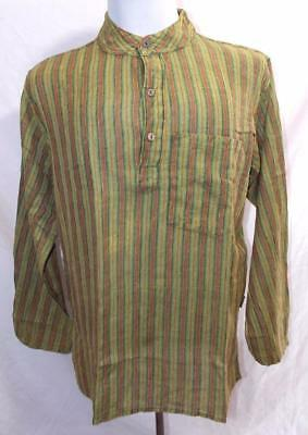 Fair Trade Gringo Grandad Shirt Hippy Boho Stonewash Festival Collarless XXL
