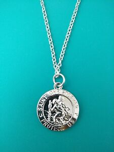 Silver-St-Christopher-Medal-Patron-Saint-Travel-Necklace-Communion-Confirmation