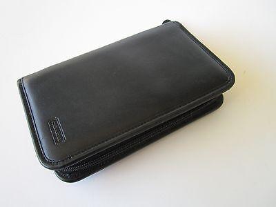 Coach Black Leather Business Planner Checkbook Wallet Men Women A+