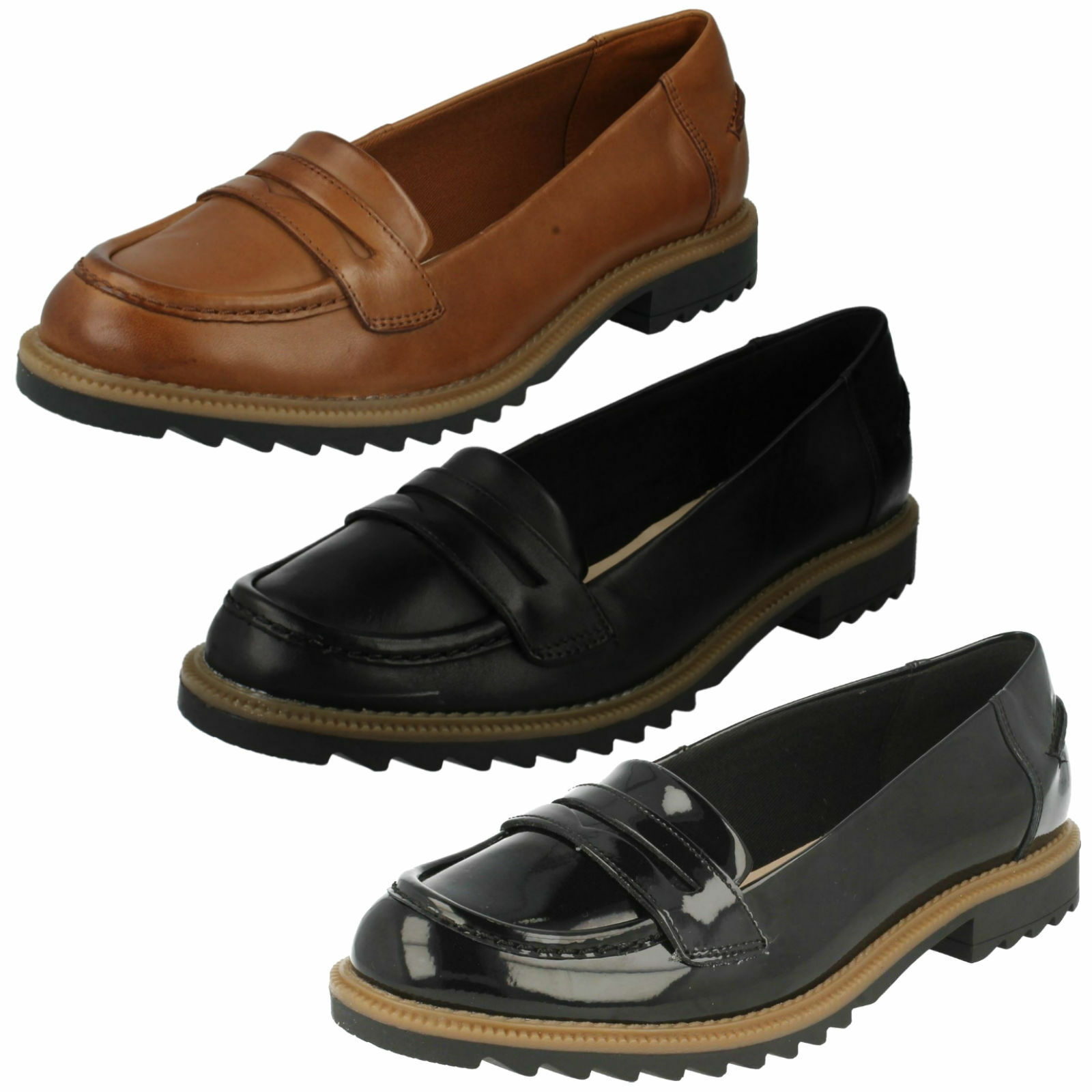 LADIES CLARKS LEATHER SLIP ON CASUAL OFFICE LOAFERS schuhe GRIFFIN MILLY Größe