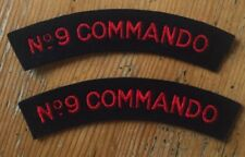 2 x No 9 Commando Shoulder Titles - Pair - Repro WWII Patches - British Army SAS