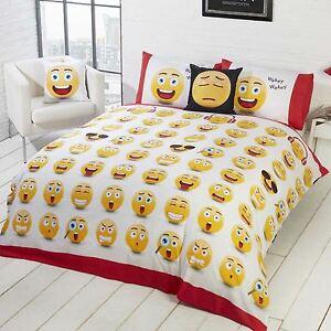 Emoji-Icones-Set-Housse-de-Couette-Simple-Design-Reversible-2-en-1