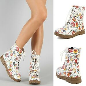 New-Floral-Combat-Boots-Mid-Calf-Flower-Print-Military-Lace-Up-Pretty-Fashion