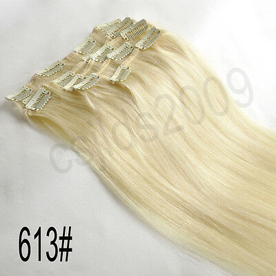 "14""-30"" Full Head 100% Clip in Human Hair Extensions"
