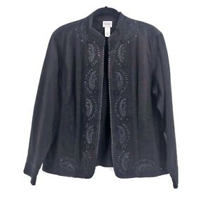 Chicos-Size-3-Embroidered-Black-Blazer-Jean-Jacket-Sparkle