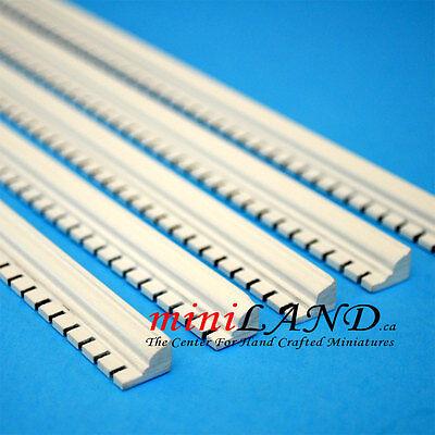 "Top quality WHITE Crown Molding dollhouse miniature 5pc Hardwood 19.5/"" Long"