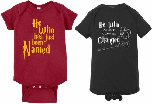Changed Baby Harry Potter Bodysuit sz Newborn 2pk He Who Has Just Been Named