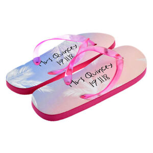 online store f384d c0694 Details zu Personalised Ladies Pink MRS Flip Flops with Surname and Date UK  6-8 XFFS099