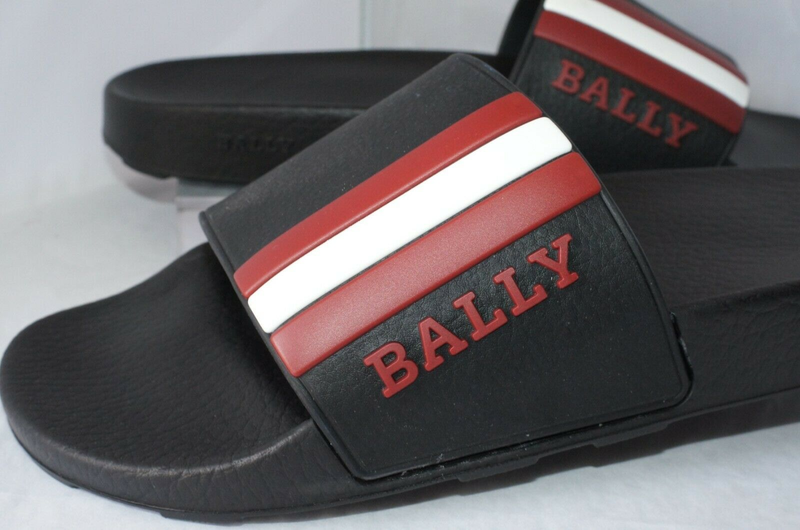 New Bally Men's Slide Garnet Sandals shoes Size 10 Black Rubber Slip Ons Sale