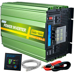 EDECOA Pure Sine Wave 3500w 7000w 12v 240v Power Inverter Camping Caravan LCD