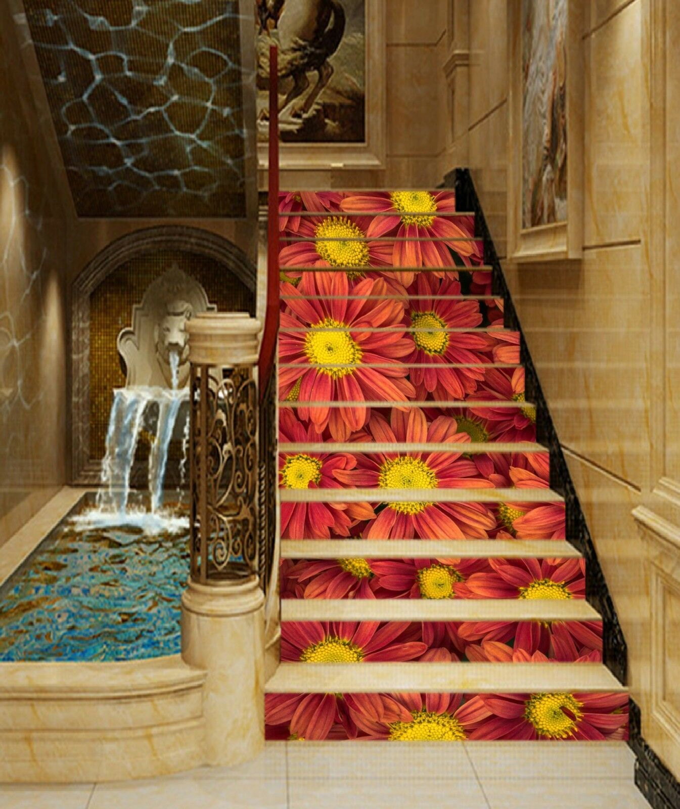 3D Cosmos Flowers Stair Risers Decoration Photo Mural Vinyl Decal Wallpaper UK
