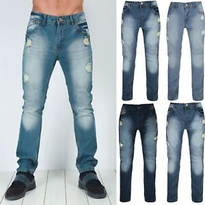 5c27f88954f Image is loading Mens-Denim-Jeans-Skinny-Fit-Ripped-Trousers-Faded-