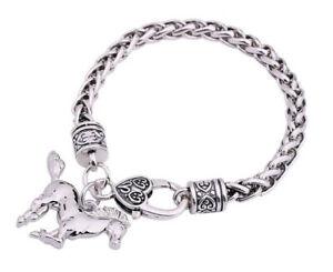 HORSE-amp-WESTERN-JEWELLERY-JEWELRY-LADIES-HORSE-CHARM-BRACELET-SILVER