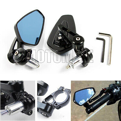 """1 Pair 7//8/"""" 22mm Motorcycle Rear View Black Handle Bar End Side Rearview Mirrors"""