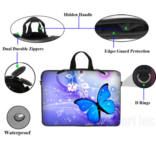 "17/"" 17.3/"" Laptop Sleeve Bag Case w Shoulder Strap /& Matching Skin Mouse Pad 2722"