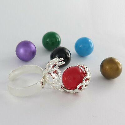 Humor 925 Sterling Silber Ring Klangkugel Fingerring Damenring - Kugel In Wunschfarbe
