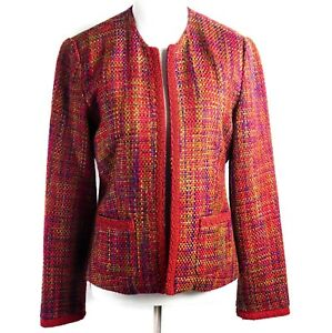 Spenser-Jeremy-Women-039-s-Jacket-Red-Tweed-Embroidery-Acrylic-Career-Size-Small