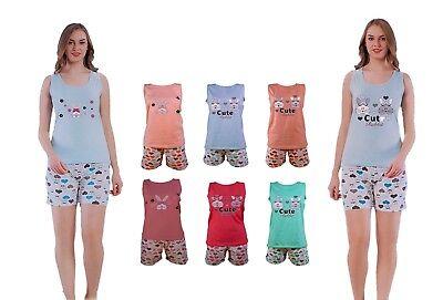 Konstruktiv Ladies Short Sleeveles Top & Shorts Pyjama Set 8•10•12•14