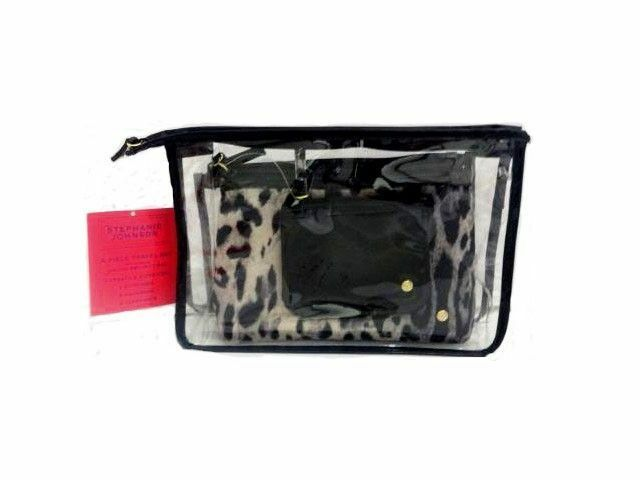 Stephanie Johnson Cosmetic Bag Set Makeup Travel Cheetah Print 4pc