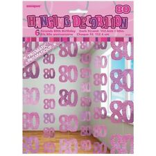Pink Glitz 80th Birthday Hanging Decorations Pack 6 5ft Strands Unique Party