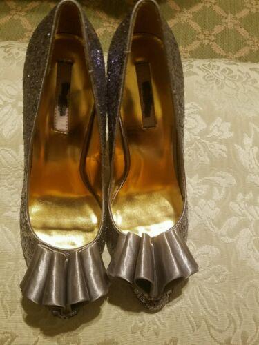 Glitter Ted Us Haut Eu Talon 40 9 London Baker Taille Femmes Argent Fin Chaussures Ibfy7g6vY