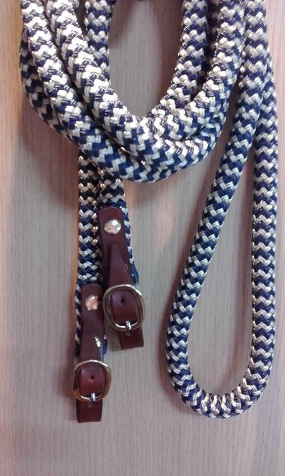 9ft  Dressage Reins in Navy Beige Zig Zag with Brown Brass Fittings Horsemanship  cheap store