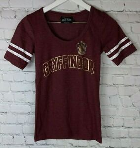 HARRY-POTTER-Womens-039-Burgundy-Gryffindor-V-Neck-T-Shirt-Shirt-Size-Small