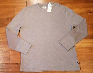 NWT-DOCKERS-Men-Thermal-Gray-Waffle-Knit-Long-Sleeve-Heavy-Shirt-XL