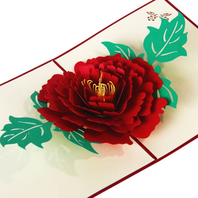 3D Pop Up Greeting Cards Peony Birthday Valentine Mother Day Christmas RS FTK