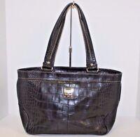 DOONEY & BOURKE Black Croco  Leather Large Shoulder Bag Handbag