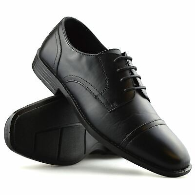 mens new leather memory foam smart casual lace up work