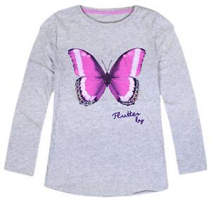 e6ca1e82 Girls Top Long Sleeve Butterfly Shine Glitter T shirt Grey Ages 2 3 ...