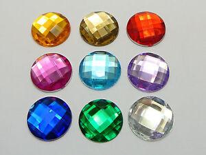 250 Mixed Color Acrylic Flatback Rhinestone Round Gem Beads 18mm No Hole