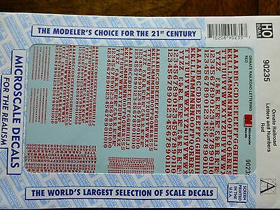 Microscale Decal #90235 Ornate Railroad Letters and Numbers - Red - 1:87 Scale