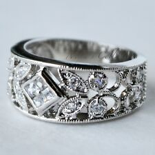 Flawless Vintage Floral Filigree Cocktail Statement Ring Wide Band Size 6