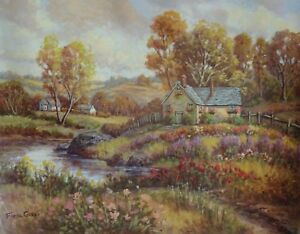 Fiora-Cozzi-Original-Oil-Painting-on-Canvas-Hand-Signed-Country-Home-Floral-COA
