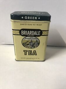 Vintage Briardale Green Tea Spice Metal Tin Des Moines IA 1/4 Pound empty