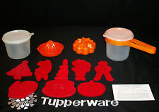 Tupperware 20oz Canisters ~ORANGE Sift It ~Juicer ~5 nested +8 RED Cookie Cutter