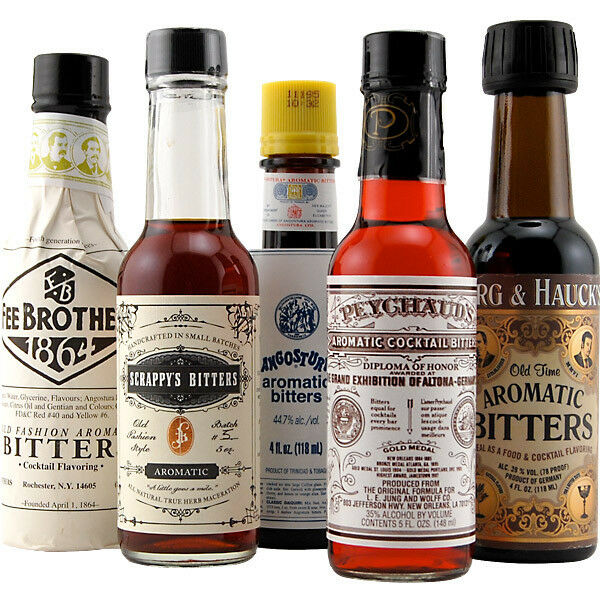 Aromatic Cocktail Bitters Collection - Set of 5 - Home Bar Mixology Drink Flavor
