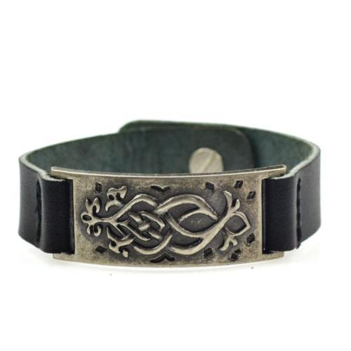 Pulsera caballero cuero pulsera de cuero de acero inoxidable placa Surfer negro ornamentos