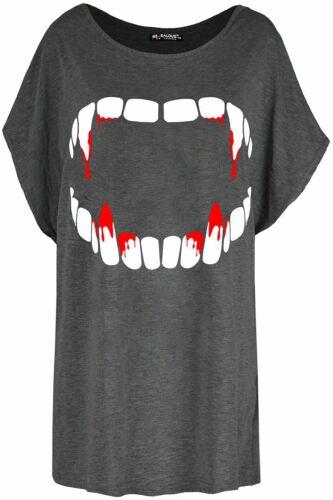 Women Ladies Halloween Coustume Fang Tastic Bleeding Lip Baggy Batwing Tee Shirt
