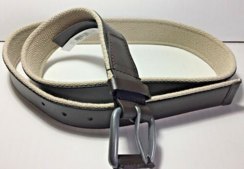 Cole Haan Mens Belt Brown Leather /& Canvas Webbing Nickel Buckle Size 38 and 36