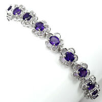 Sterling Silver 925 Oval Genuine Natural Amethyst Tennis Bracelet 7.5 Inches